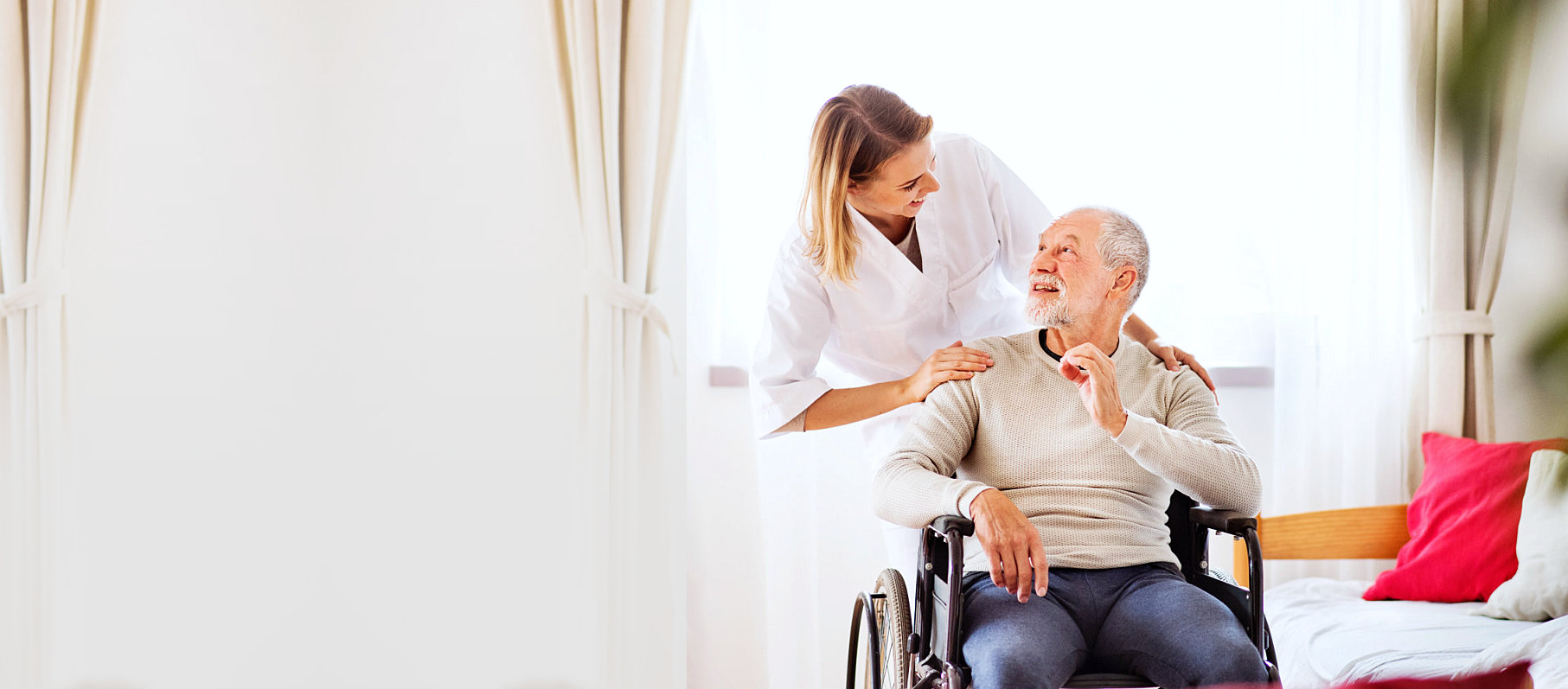 A caregiver and an elderly
